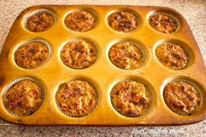 Low carb cinnamon rhubarb muffins cooling