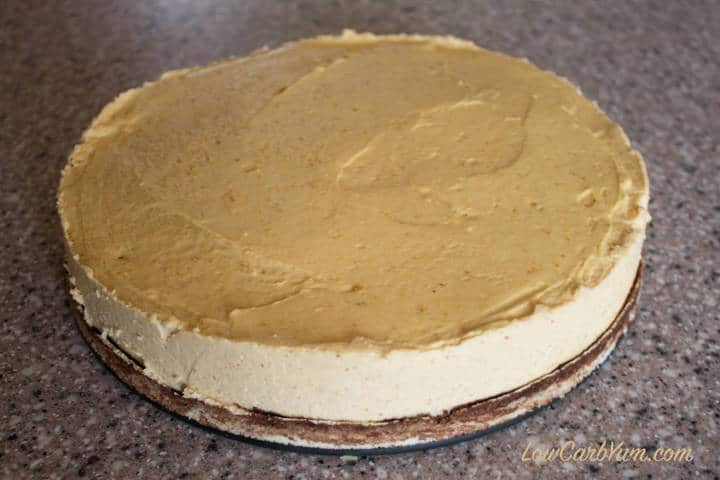 low carb peanut butter cheesecake springform removed