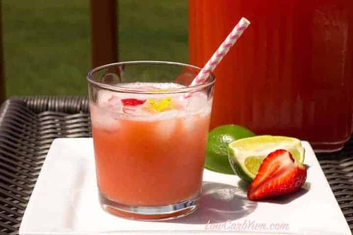 Sugar free low carb strawberry limeade drink