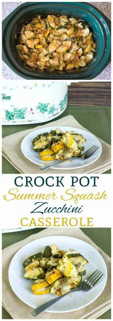 Have an abundance of summer squash in the garden? Try this deliciously seasoned low carb crock pot zucchini and yellow squash casserole. A great side dish! #lowcarb #lowcarbrecipe| LowCarbYum.com