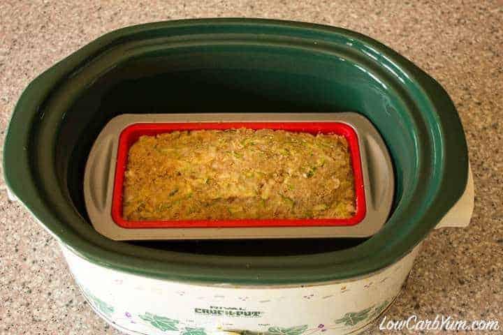 Crock pot zucchini bread batter in crock