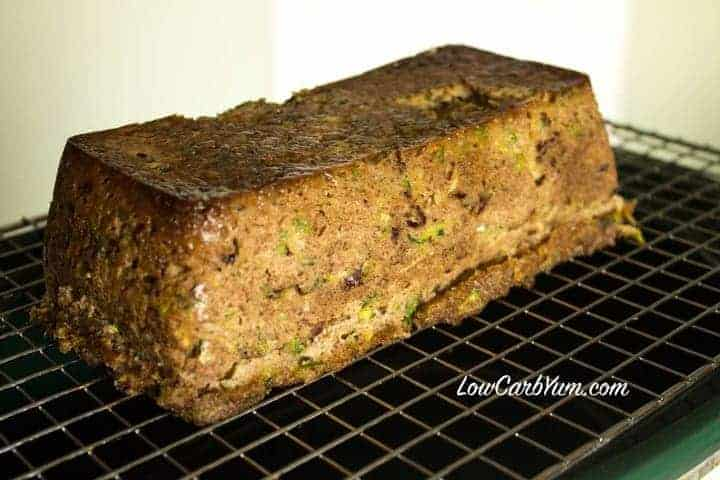 Crock pot zucchini bread cooling on rack