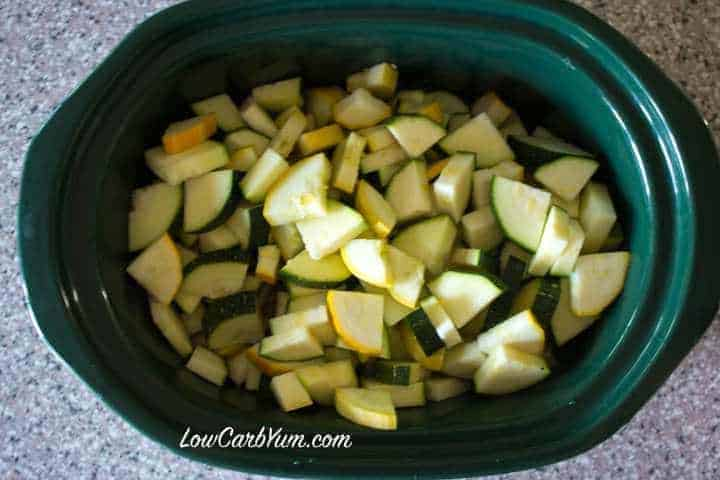 Cut Zucchini Summer Squash in Crock Pot