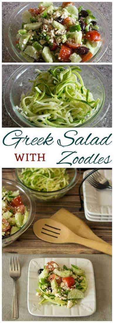 Low Carb Greek salad is a great way to use up garden vegetables. Toss the basic ingredients in Greek salad dressing then serve over fresh gluten free zucchini zoodle noodles. #salad #GreekSalad #lowcarb | LowCarbYum.com