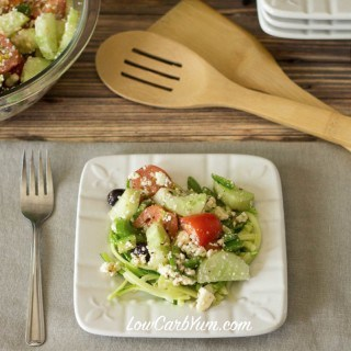 Low carb Greek salad over zoodles recipe
