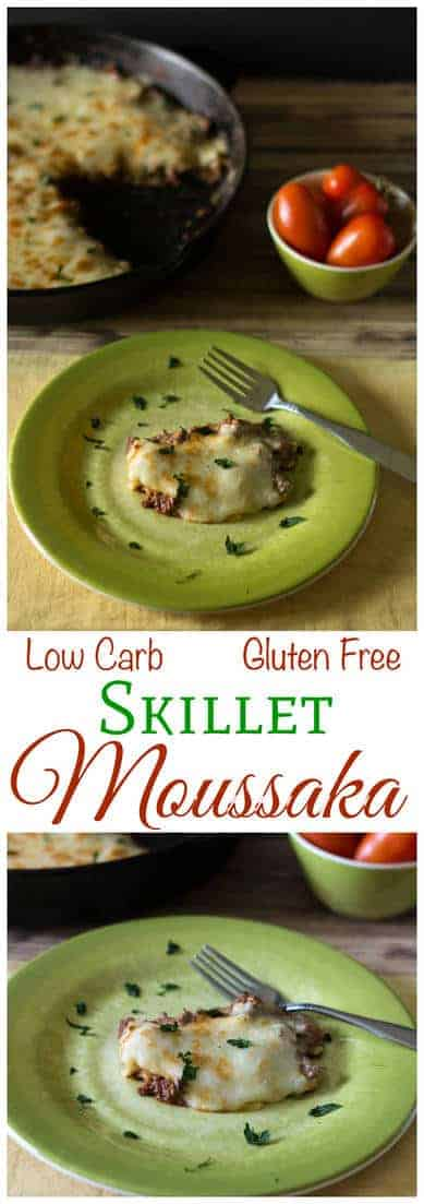 Have you ever tried a skillet moussaka recipe? If you prefer cooking on the stove, try this low carb gluten free moussaka in a skillet for dinner. A yummy LCHF Banting Keto recipe.
