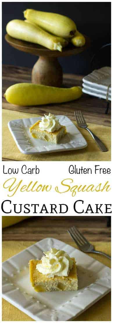 Summer squash can be used to make a sweet sugar free dessert. This low carb and gluten free yellow squash cake has chunks of squash in a custard like cake. LCHF Banting cake.