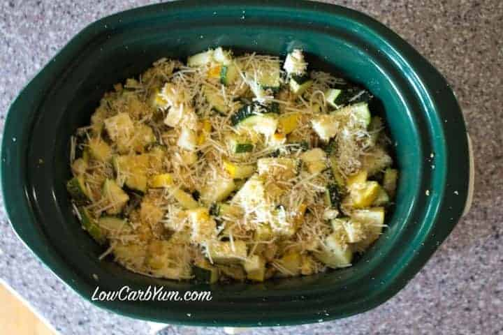 Zucchini Summer Squash in Crock Pot Cheese