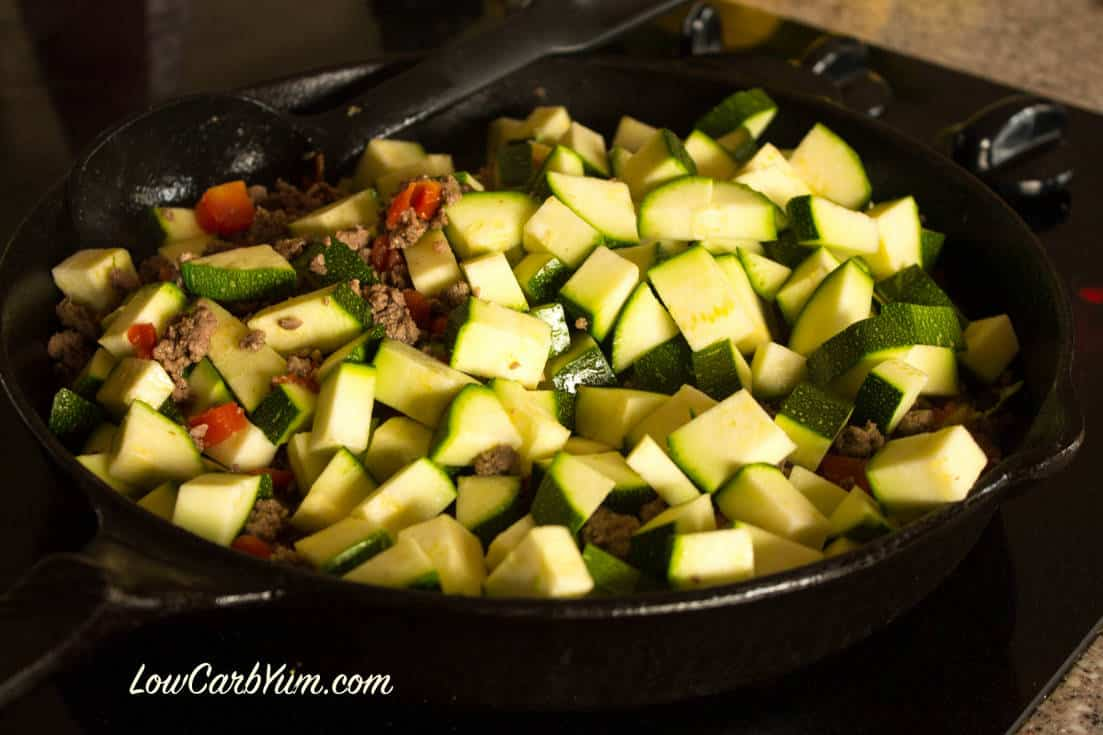 Adding zucchini to beef skillet