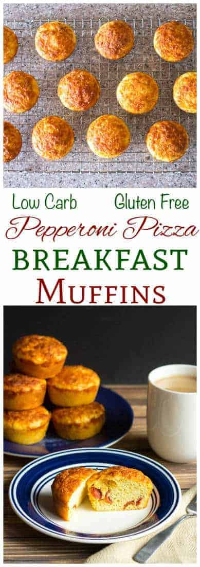 If you like cold pizza for breakfast, you will love these low carb gluten free pepperoni pizza muffins. Enjoy a healthy portable keto breakfast on the go!