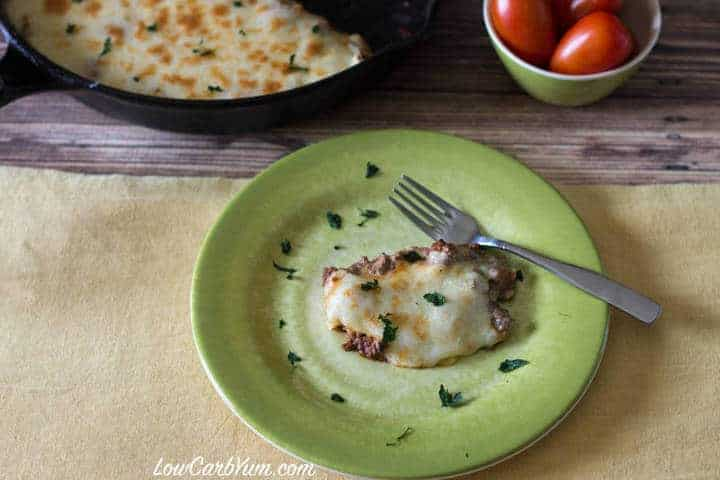 low carb gluten free skillet moussaka
