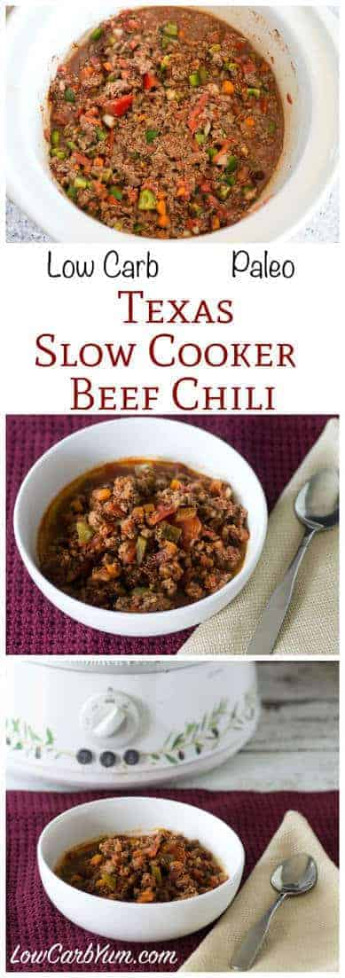 A simple paleo low carb slow cooker beef chili that is quick and easy to prepare. Prep time is about ten minutes then the beef chili slowly cooks in the crock pot. LCHF Banting Gluten Free Recipe