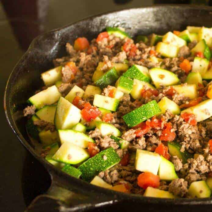 Mexican Ground Beef with Zucchini and Tomatoes