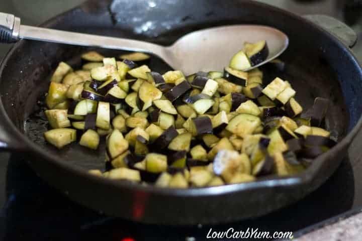 Cook eggplant skillet