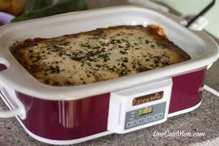 Crock-Pot ground beef eggplant casserole cooked