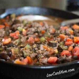 Eggplant tomato ground beef skillet recipe