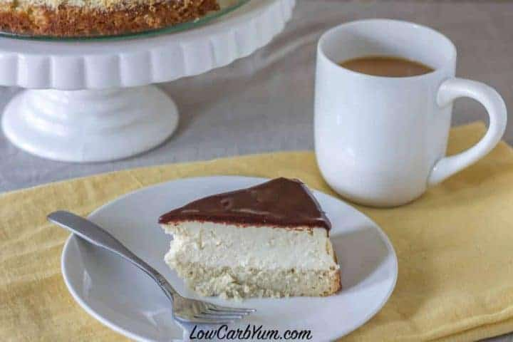 Gluten free low carb Boston cream cheesecake slice