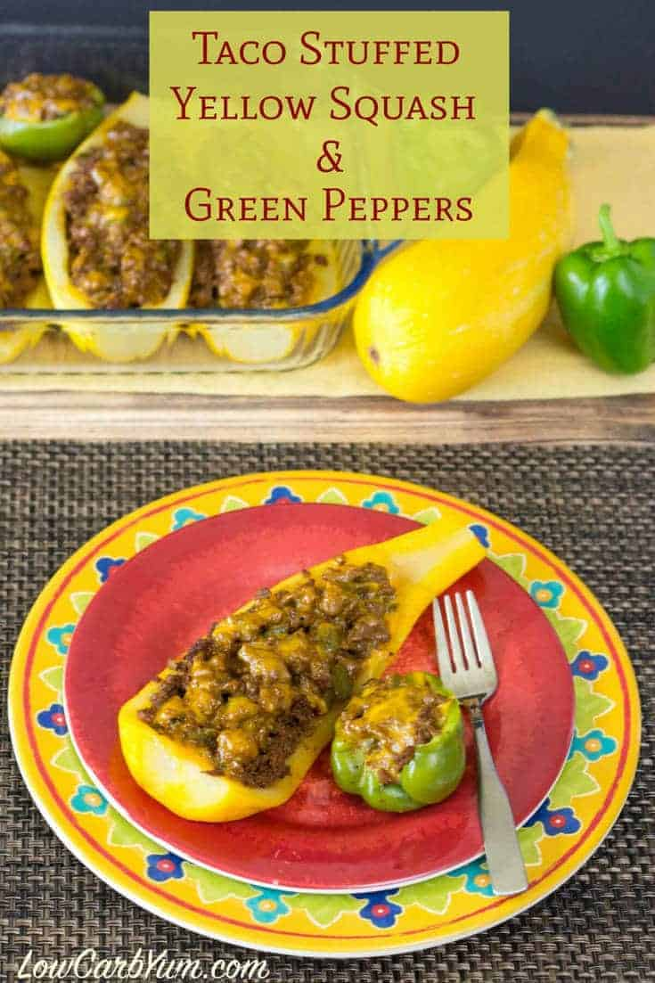 Taco Stuffed Yellow Squash And Peppers Low Carb Yum