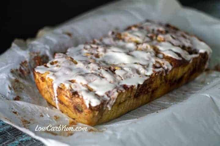 low carb zucchini apple fritter bread glaze