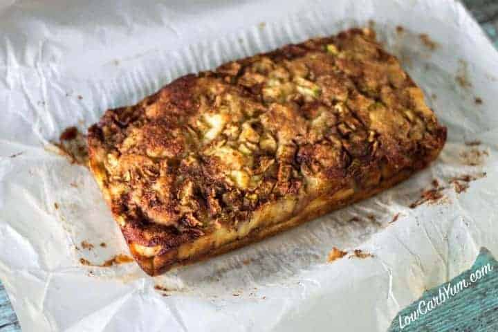 low carb zucchini apple fritter bread no glaze