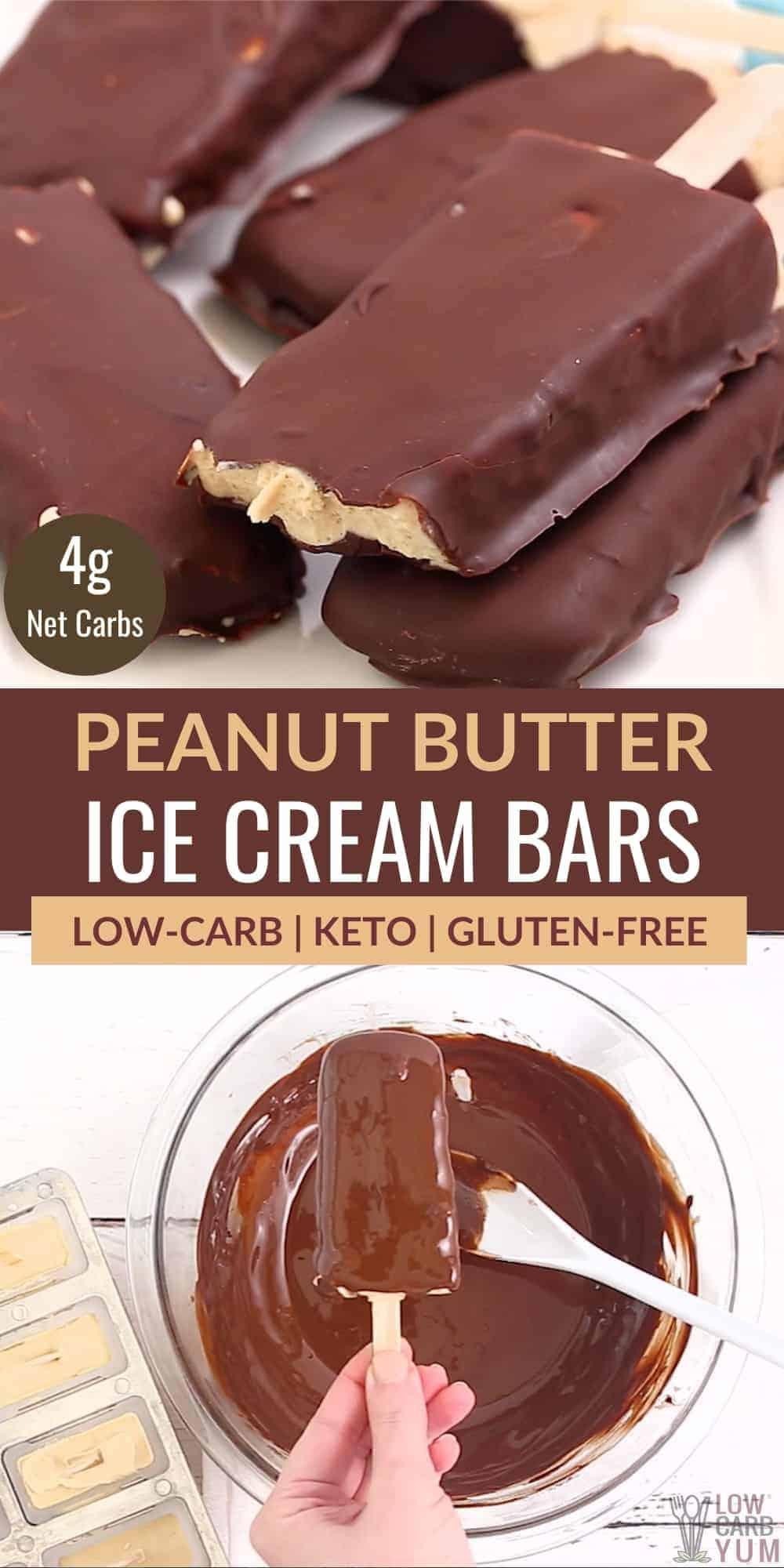 peanut butter keto ice cream bars pinterest image