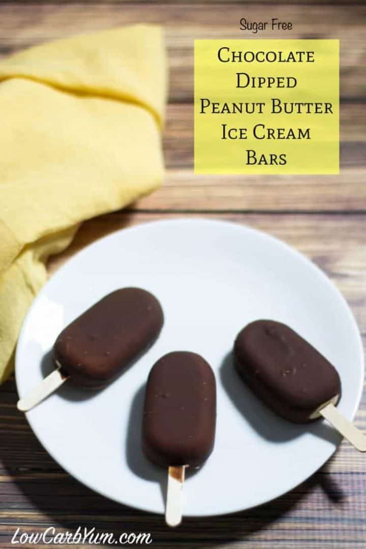 Chocolate covered peanut butter low carb ice cream bars