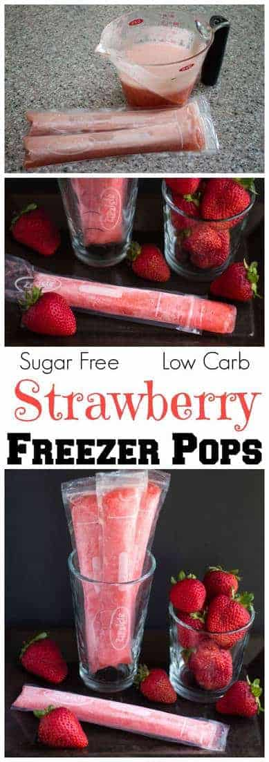 An easy low carb strawberry freezer pops fruit popsicles recipe sweetened with stevia. These sugar free strawberry popsicles can be frozen in bags or molds.