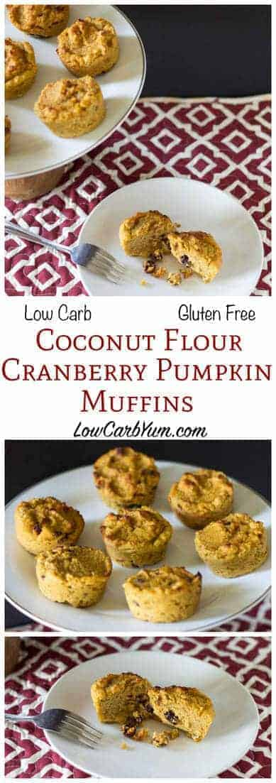 Enjoy two great fall flavors together in these simple to make muffins. These delicious coconut flour cranberry pumpkin muffins are low carb and gluten free. LCHF Keto Banting Recipe