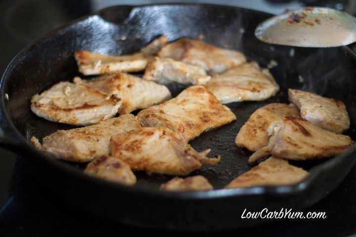 Browning pork slices in skillet