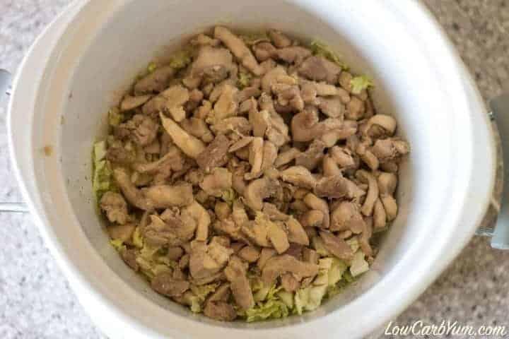 Chicken over cabbage in crock pot
