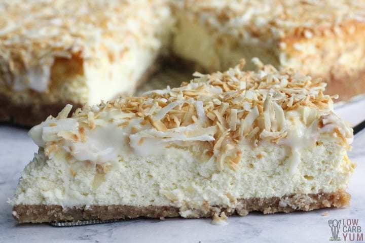 Slice of coconut cream cheesecake