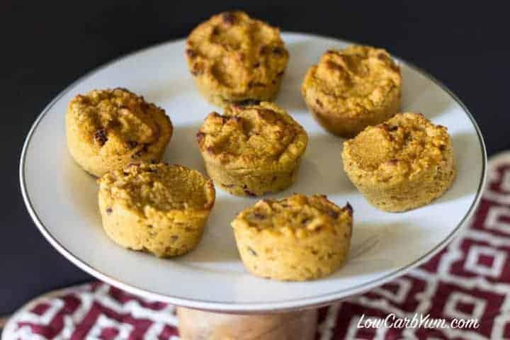 Coconut flour cranberry pumpkin muffins plate