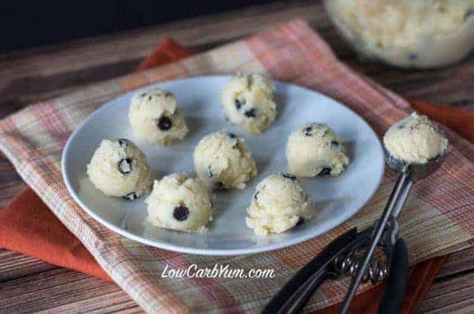 Low carb coconut flour chocolate chip cookie dough bites