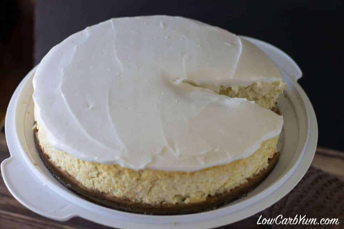 Low carb coconut cheesecake sliced