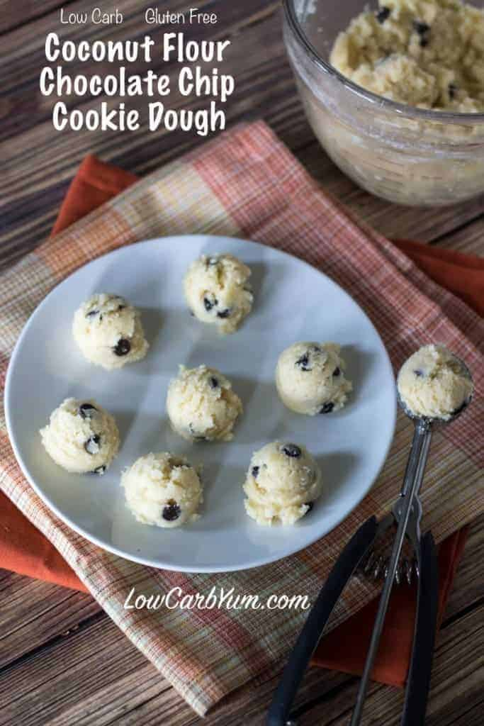 Low carb gluten free coconut flour chocolate chip cookie dough bites that are meant to be eaten raw. No baking required!