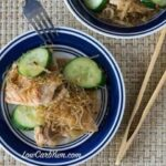 Low carb gluten fre spicy pork kelp noodles cucumber