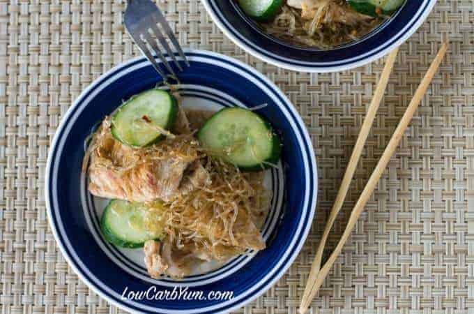 Low carb gluten fre spicy pork kelp noodles cucumber