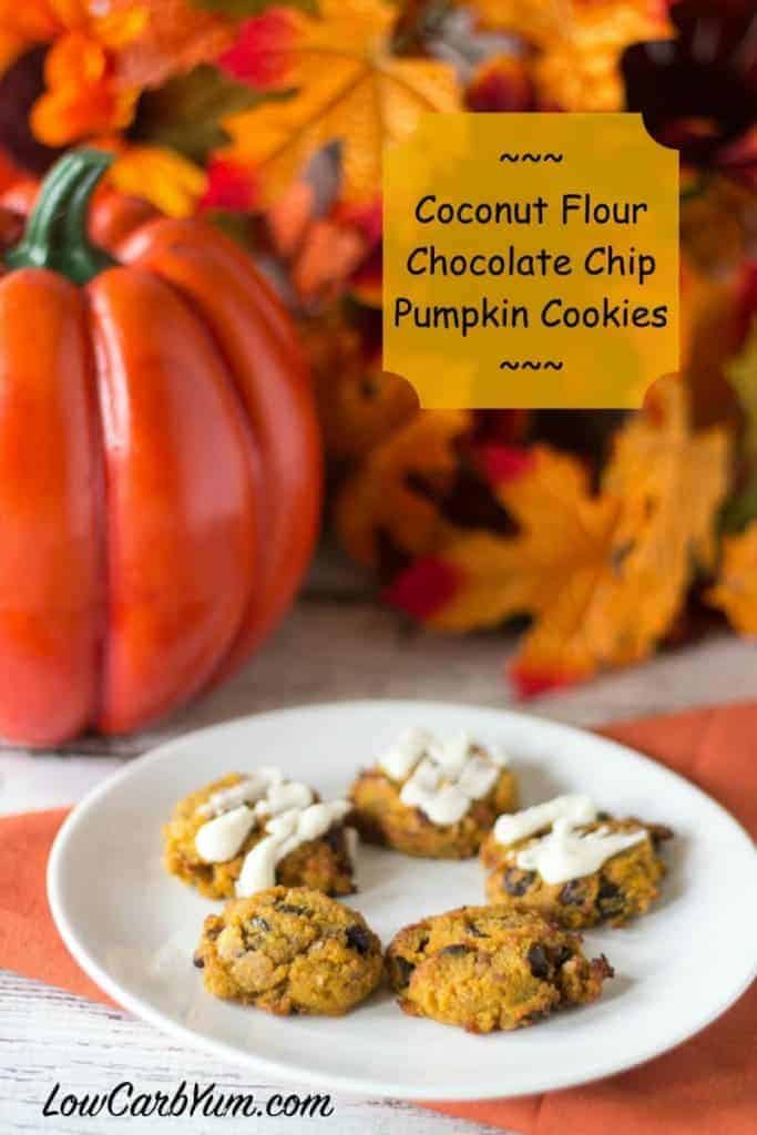 Need another coconut flour recipe? Try these delicious low carb chocolate chip pumpkin cookies. They are perfect for snacking or sharing over the holidays. LCHF, Keto, and Gluten Free