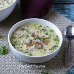Low carb gluten free cream of chicken soup with bacon and mushrooms