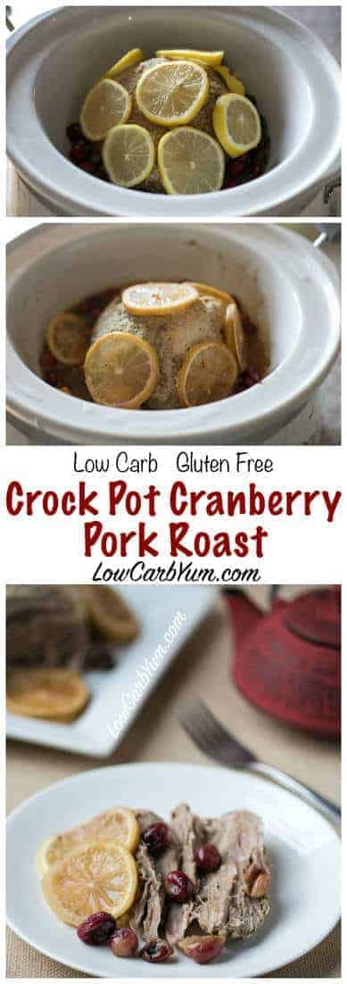 Now is the perfect time to enjoy a low carb crock pot cranberry pork roast. Less than five minutes to prepare and then the crock pot does all the cooking. LCHF Keto Banting Recipe