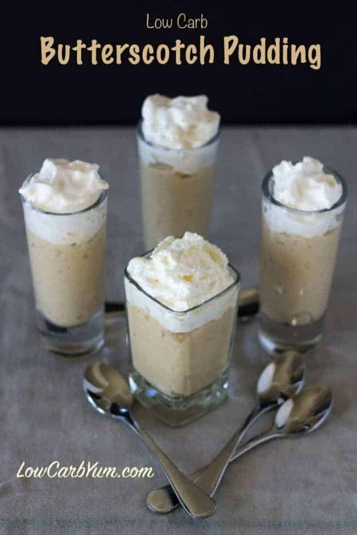 A low carb homemade butterscotch pudding recipe from scratch made with butter and a brown sugar substitute. It fills you up with only a small portion.