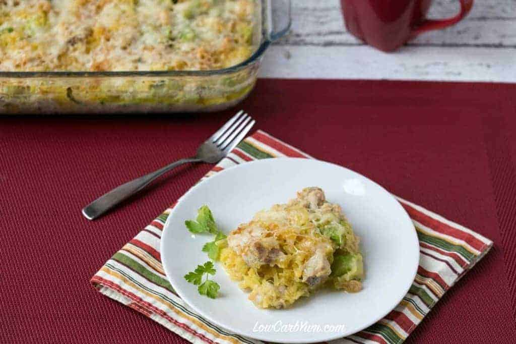 An easy chicken spaghetti squash casserole that has a creamy cheese sauce. Can be made with your choice of low carb vegetables like broccoli or cauliflower.