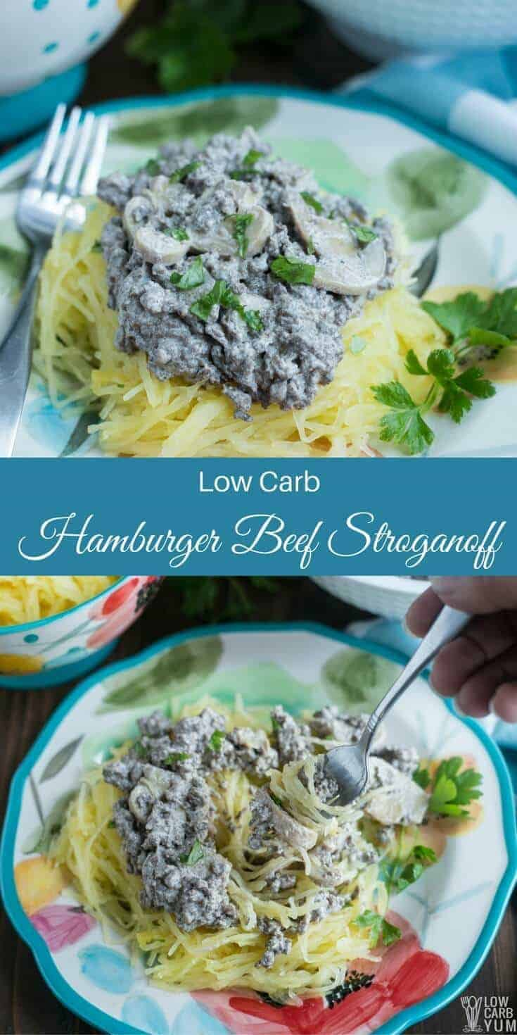 Delicious low carb hamburger beef stroganoff made fast and easy in one pan. Just grab some ground beef, sour cream, mushrooms, and spices. | LowCarbYum.com