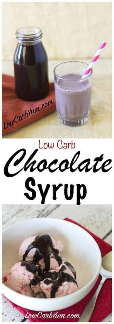 Need a low carb sugar free chocolate syrup recipe to use for making chocolate milk and as an ice cream topping? It's super easy to make your own. #lowcarb #keto #ketorecipe | LowCarbYum.com