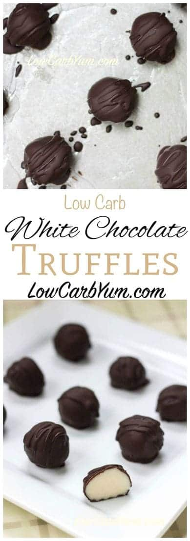 Make every day special with these white chocolate low carb truffles candy. Each truffle has a creamy soft filling covered in yummy dark chocolate. | LowCarbYum.com