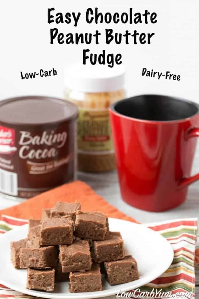 A quick and easy low-carb dairy-free chocolate peanut butter fudge recipe. This delicious treat will keep you from being tempted by high carb treats.