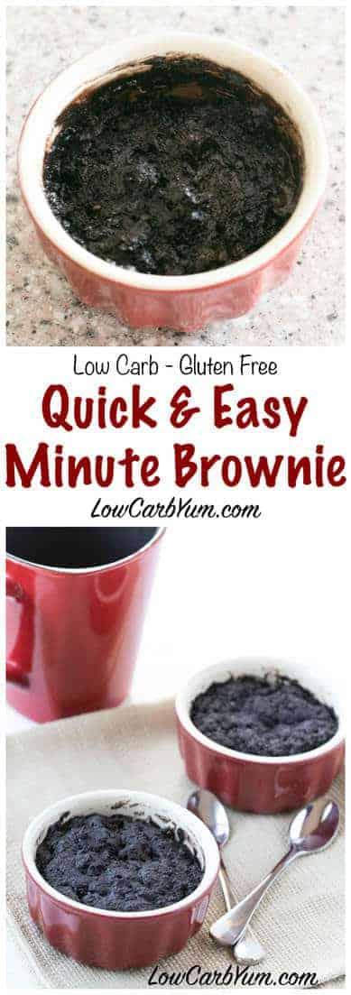 A delicious one minute chocolate brownie in a mug cake that bakes up in your microwave. Enjoy this simple low carb keto brownie recipe for a quick snack. #lowcarb #keto #ketorecipe | LowCarbYum.com