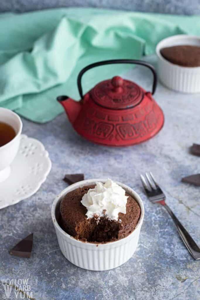 low carb brownie in a mug