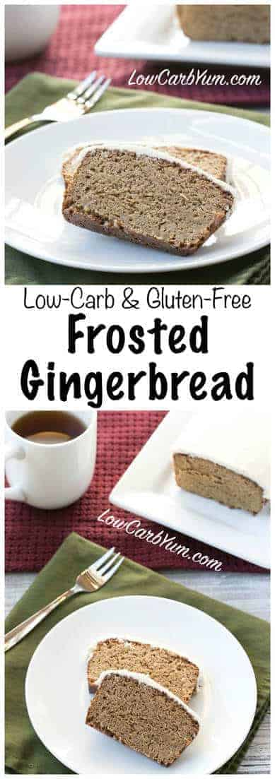 Low carb gingerbread bread loaf, a holiday favorite in an easy to make quick bread. Enjoy this gluten free gingerbread frosted or leave plain for a less sweet treat.