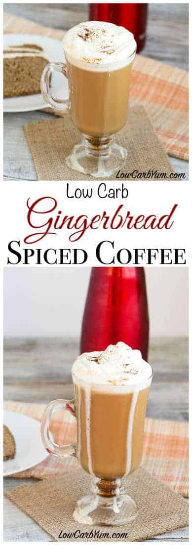 A low carb gingerbread spice coffee recipe that is a perfect beverage to enjoy during the holiday festivities. It adds a nice touch of spice to coffee. #lowcarb #sugarfree #keto #ketorecipes #ketocoffee | LowCarbYum.com
